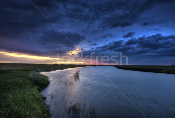 Legno fiume saskatchewan Canada tramonto colori Foto d'archivio © pictureguy