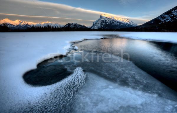 Foto stock: Lago · céu · paisagem · montanha · reflexão · cenário