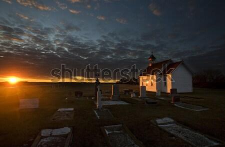 Stock fotó: Naplemente · Saskatchewan · templom · jávorszarvas · állkapocs · Kanada