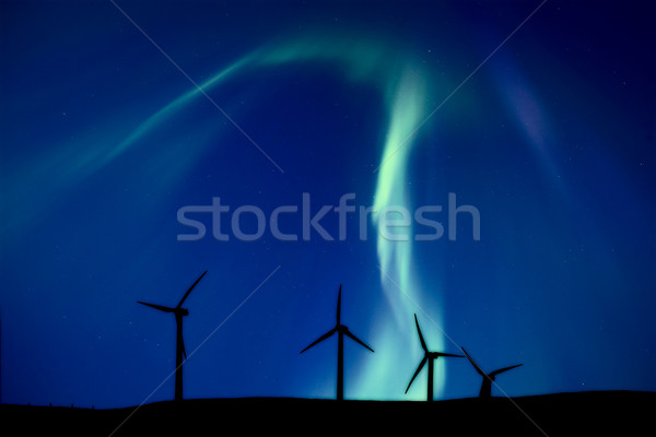 Stock photo: Wind Farm And Northern Lights