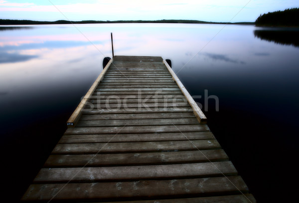 Boat dock at Smallfish Lake in scenic Saskatchewan Stock photo © pictureguy