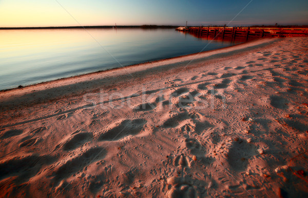 Beach and dock along shore of Lake Winnipeg Stock photo © pictureguy