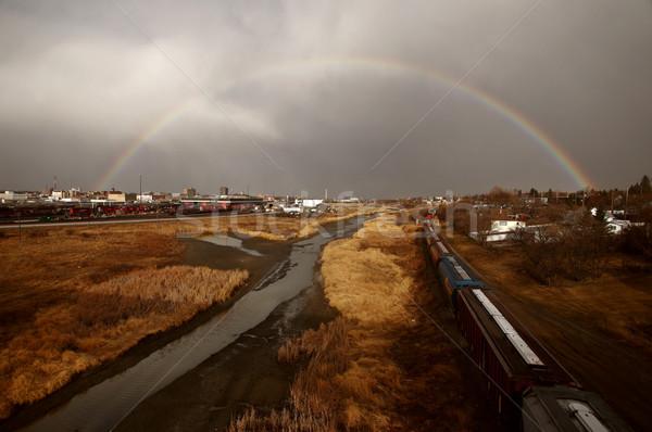 Regenboog eland kaak saskatchewan hemel gebouwen Stockfoto © pictureguy