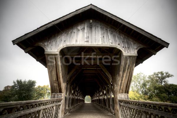木製 カバー 橋 オンタリオ 道路 公園 ストックフォト © pictureguy