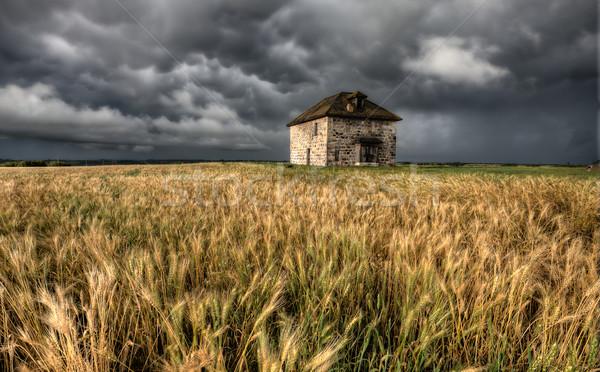 Viharfelhők préri égbolt kő ház Kanada Stock fotó © pictureguy