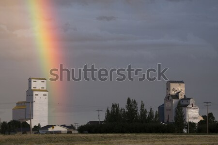 Nasty looking cumulonimbus cloud behind grain elevator Stock photo © pictureguy