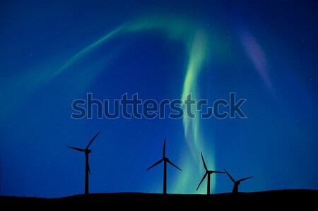 Wind Farm And Northern Lights Stock photo © pictureguy