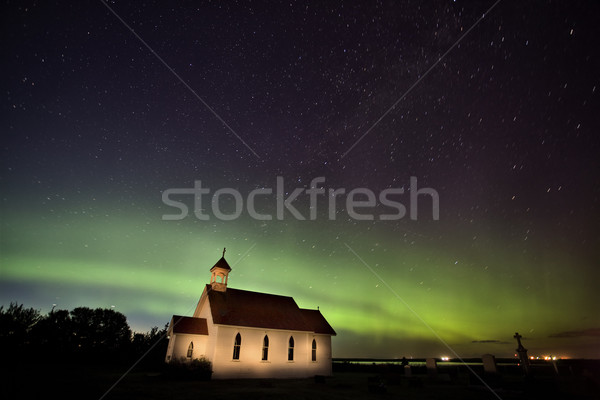 Nord lumières saskatchewan Canada église vert Photo stock © pictureguy