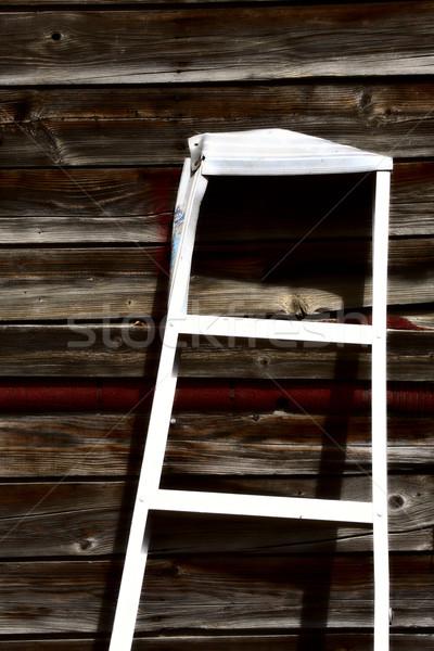 Aluminum ladder against old garage in Saskatchewan Stock photo © pictureguy