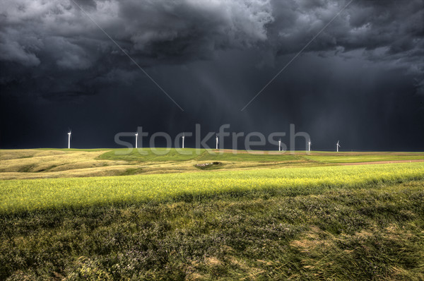 Viharfelhők Saskatchewan szélfarm aktuális Kanada égbolt Stock fotó © pictureguy