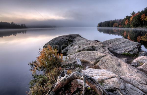 Göl sonbahar gündoğumu yansıma ontario renkler Stok fotoğraf © pictureguy