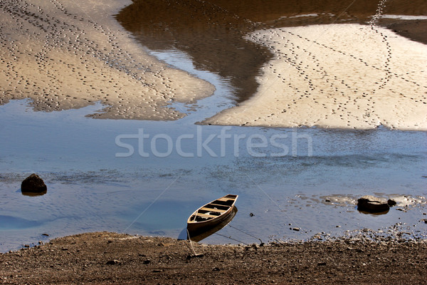 Boat on shore of Medicine Lake in Jasper National Park Alberta Stock photo © pictureguy