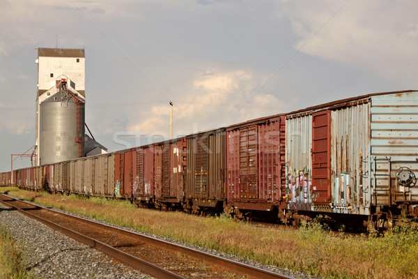 Boxcars parked on siding near grain elevator Stock photo © pictureguy