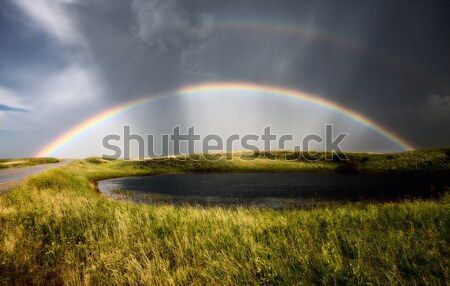 Prairie Hail Storm and Rainbow Stock photo © pictureguy
