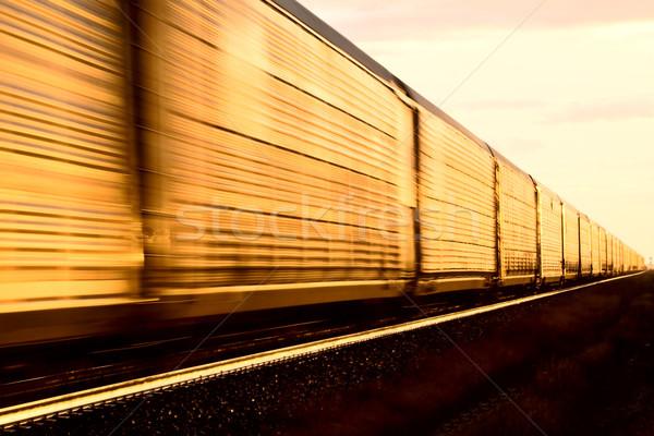 Сток-фото: поезд · закат · поздно · день · Саскачеван · Канада