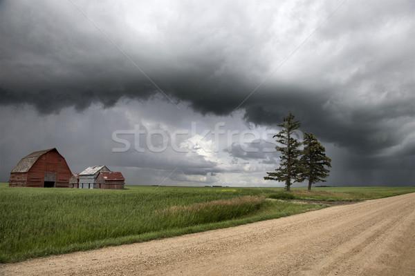 Onweerswolken saskatchewan plank wolk waarschuwing Stockfoto © pictureguy