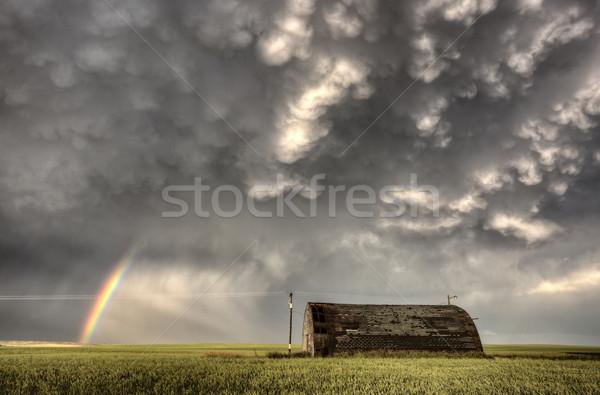 Viharfelhők Saskatchewan szivárvány préri Kanada égbolt Stock fotó © pictureguy