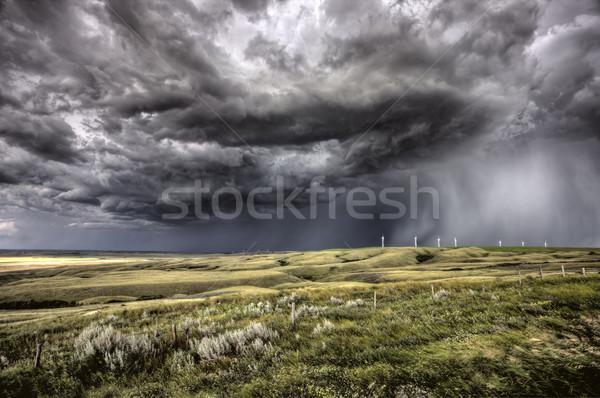Saskatchewan parque eólico atual Canadá céu Foto stock © pictureguy
