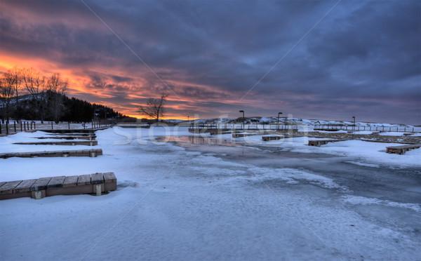Cyprys wzgórza jezioro zimą zimno niebo Zdjęcia stock © pictureguy