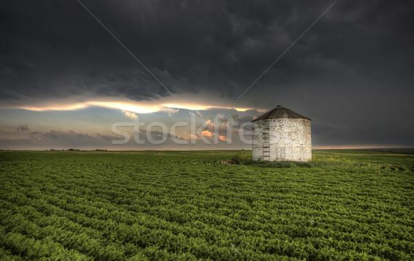 Stock fotó: Viharfelhők · Saskatchewan · öreg · fából · készült · égbolt · természet