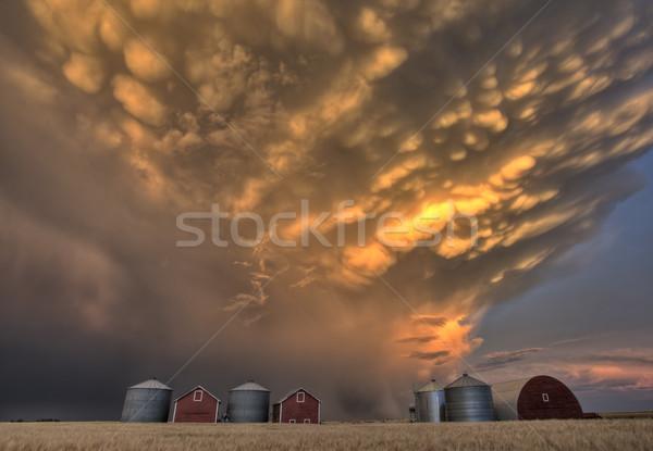 Foto stock: Puesta · de · sol · nubes · de · tormenta · Canadá · rayo · cielo · nubes