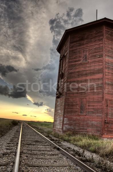Nuages d'orage saskatchewan bois chemin de fer eau tour Photo stock © pictureguy