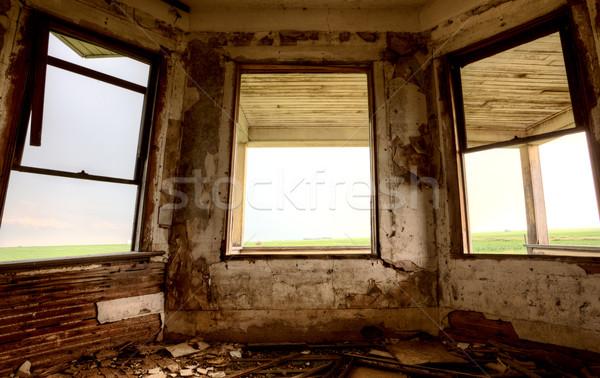 интерьер заброшенный здании прерия Саскачеван Канада Сток-фото © pictureguy