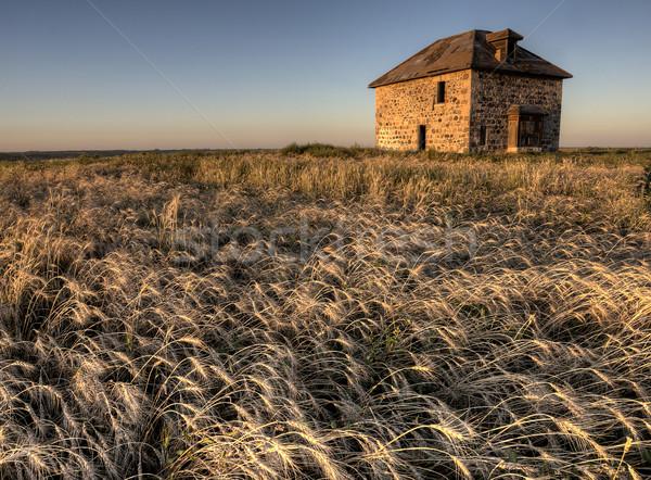 Stock fotó: Elhagyatott · kő · ház · naplemente · Saskatchewan · Kanada