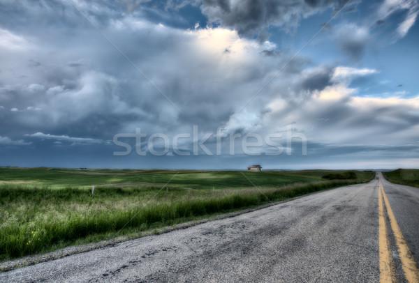 Сток-фото: прерия · дороги · школы · дома · Саскачеван · Канада