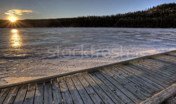 Ciprus dombok tó tél hideg égbolt Stock fotó © pictureguy