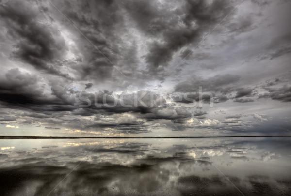 Stock fotó: Saskatchewan · tó · tükröződés · Kanada · felhők · természet