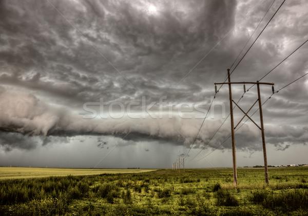 Viharfelhők Saskatchewan távvezeték Kanada égbolt természet Stock fotó © pictureguy