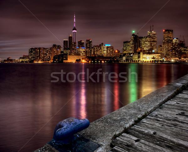 Noche tiro Toronto horizonte ontario Canadá Foto stock © pictureguy