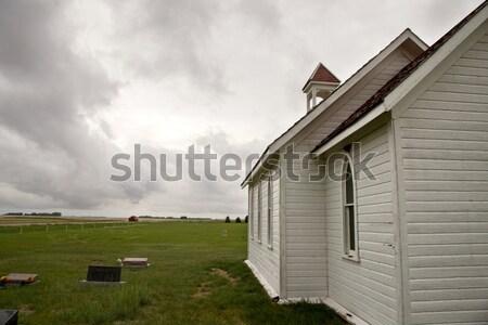 嵐雲 サスカチュワン州 国 教会 農村 カナダ ストックフォト © pictureguy