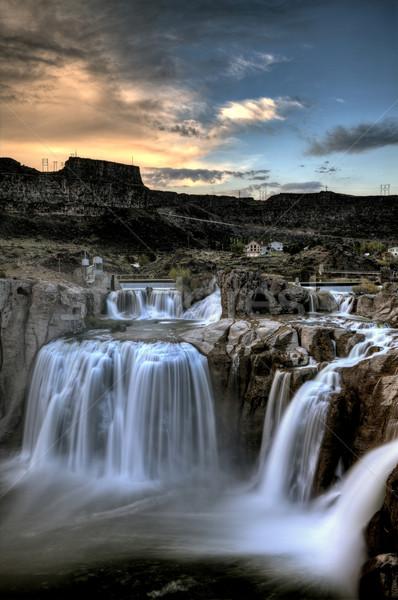 Iker Idaho elmosódott víz naplemente vízesés Stock fotó © pictureguy