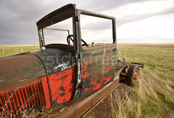 Stock photo: Antique Vintage Old Car in Field