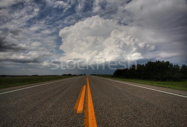 Storm clouds down a Saskatchewan highway Stock photo © pictureguy