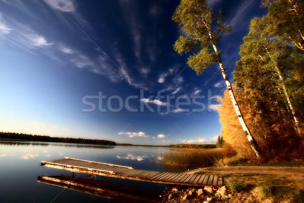 Barca dock autunno alberi saskatchewan lago Foto d'archivio © pictureguy