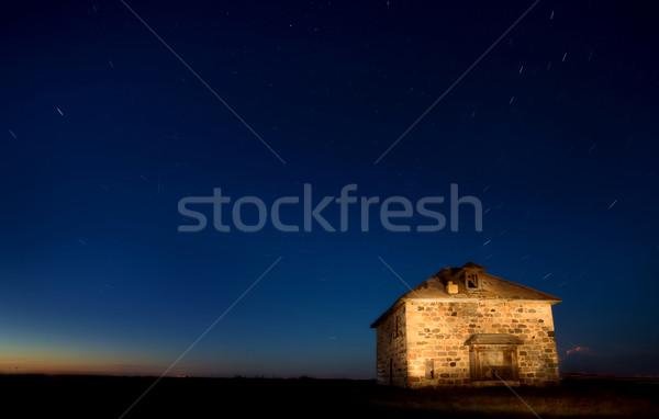 Verlaten steen huis nacht shot saskatchewan Stockfoto © pictureguy