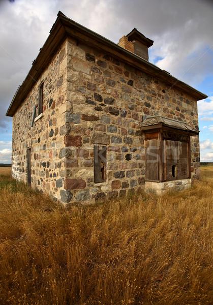 Zdjęcia stock: Opuszczony · kamień · domu · sceniczny · saskatchewan · krajobraz