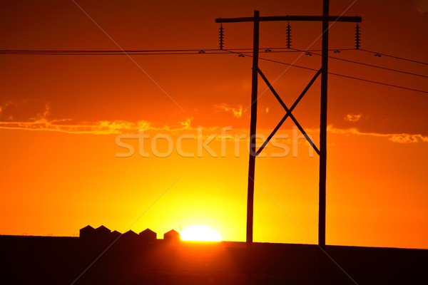Gorgeous sunset behind Saskatchewan power towers Stock photo © pictureguy