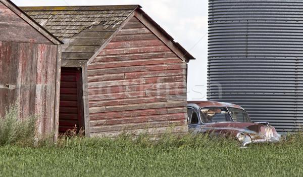 Fából készült régi autó Saskatchewan Kanada égbolt Stock fotó © pictureguy