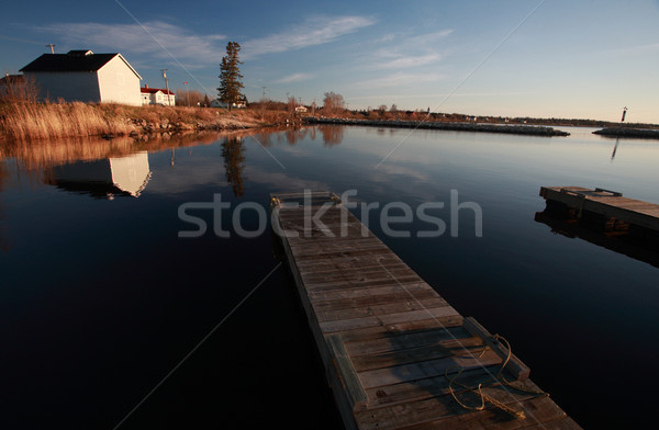 Boat docks and buildings at Hecla in Manitoba Stock photo © pictureguy