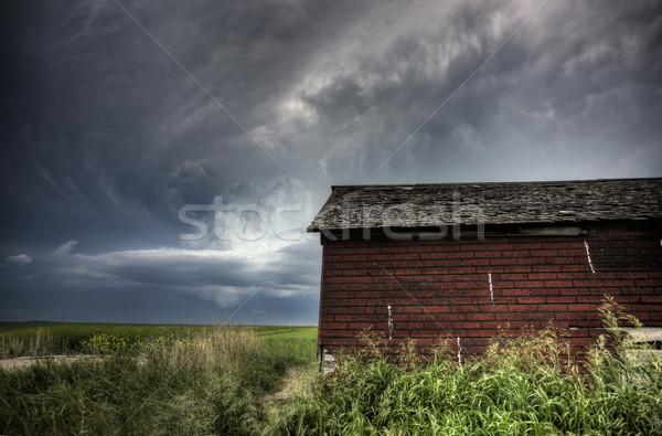 Stock fotó: Viharfelhők · Saskatchewan · piros · épületek · égbolt · természet