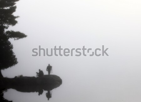 Sillouette Photographers in the mist Stock photo © pictureguy