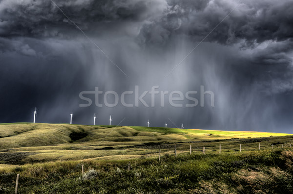 Nuages d'orage saskatchewan parc éolien courant Canada ciel Photo stock © pictureguy