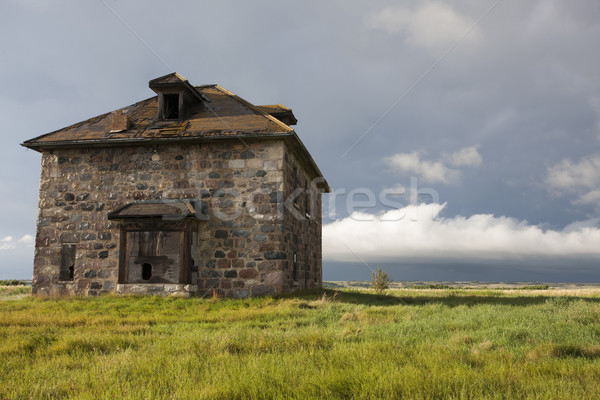 Storm Clouds Prairie Sky stone house Stock photo © pictureguy