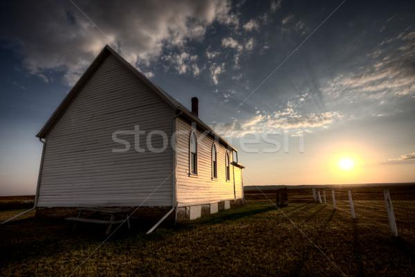 Viharfelhők Saskatchewan vidék templom naplemente égbolt Stock fotó © pictureguy