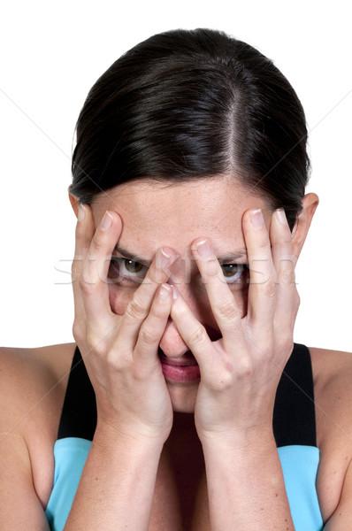 Gyönyörű nő gyönyörű fiatal ijedt nő néz Stock fotó © piedmontphoto