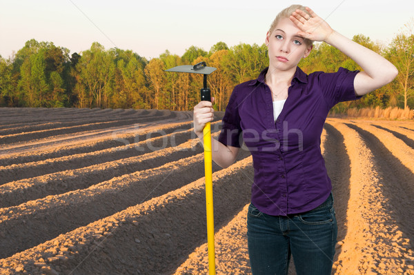 Agricultor mujer azada trabajo belleza Foto stock © piedmontphoto